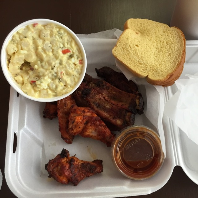 Ribs, wings and potato salad